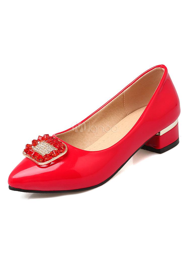 Buy Low Heel Pumps Women's Pointed Toe Patent PU Slip On Rhinestones Metallic Detail Pump Shoes for $29.44 in Milanoo store