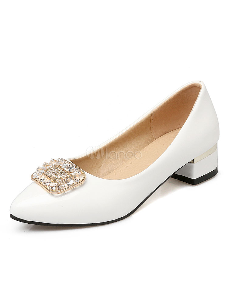 Zapatos de tacón medio de puntera puntiaguada de tacón gordo antideslizantes estilo modernopara pasar por la noche Charol PU fAWrb
