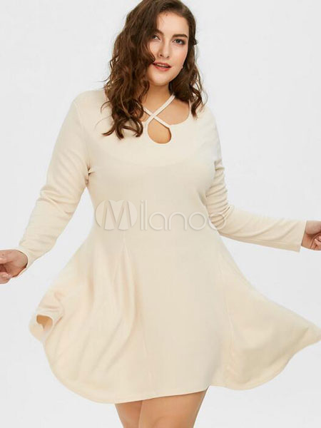 Black Skater Dress Plus Size Long Sleeve Women\'s Summer Fit And ...