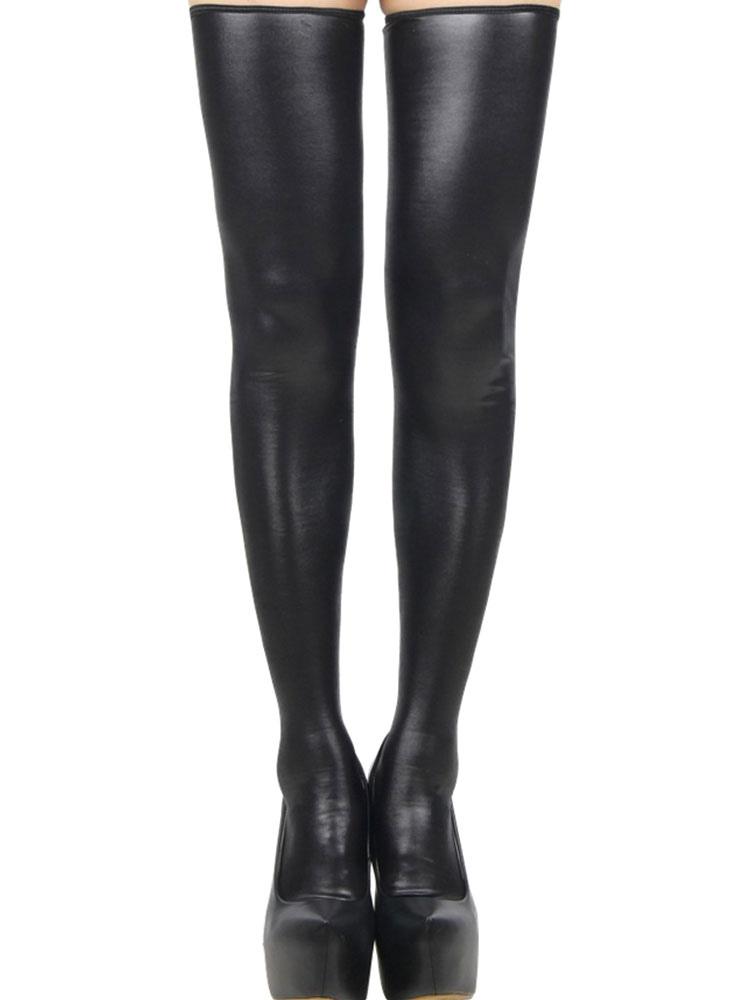 Black PU Stockings Women's Zipper Club Thigh High Socks Cheap clothes, free shipping worldwide