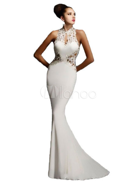 Buy Maxi White Dress Mermaid Lace Illusion Sleeveless Women's Floor Length Party Dresses for $28.79 in Milanoo store