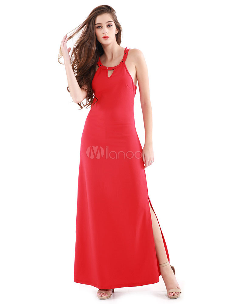 Buy Red Maxi Dress U Neck Sleeveless High Slit Cut Out Strappy Long Dress for $33.24 in Milanoo store