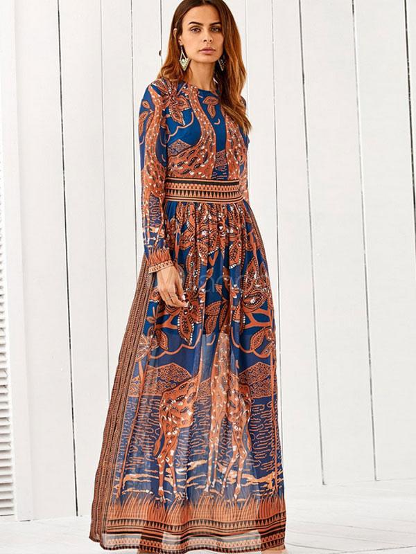 Brown Maxi Dress Boho Silk Round Neck Long Sleeve Waist Training Ethnic Printed Long Dress