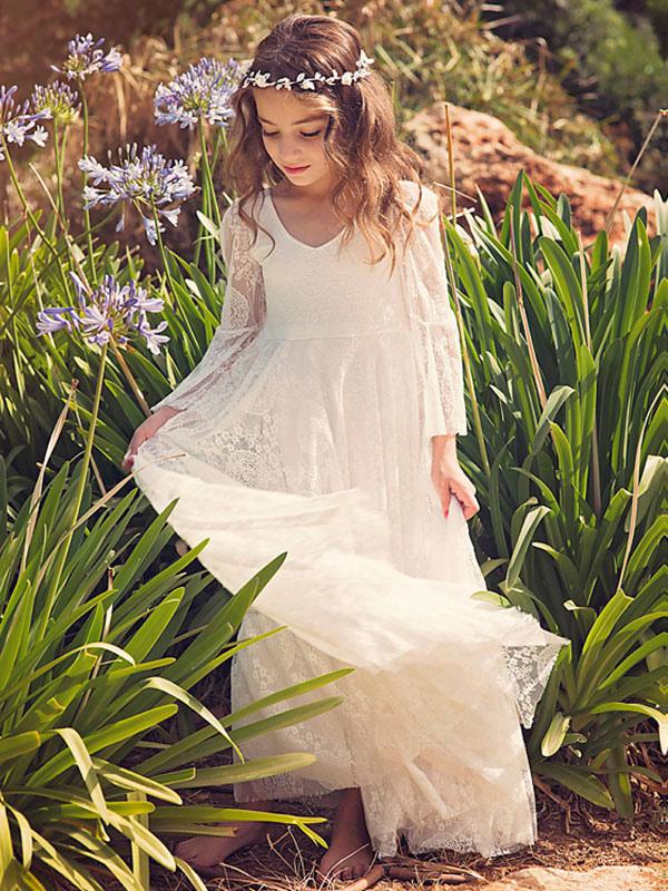 dc0110f9f1e3a ... Boho Flower Girl Dress White Lace Flare Sleeve Sash A Line V Neck Ankle  Length Junior ...