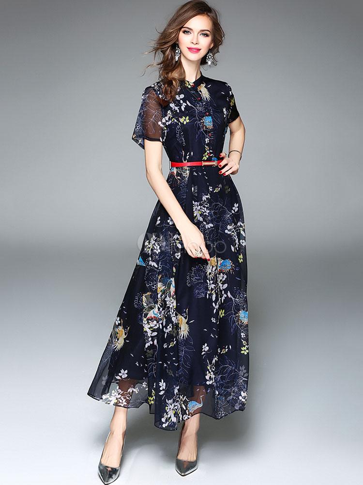 robe longue bleu en chiffon col montant. Black Bedroom Furniture Sets. Home Design Ideas