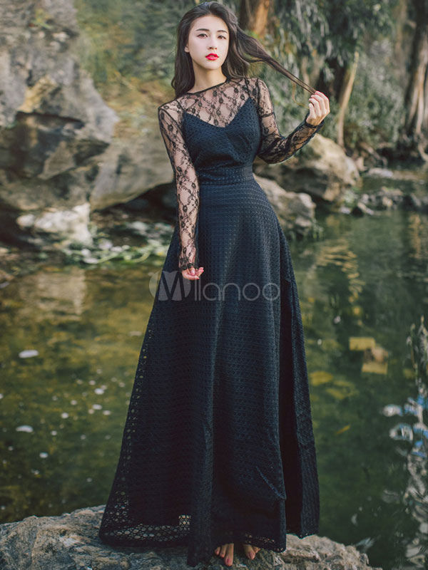 4f9f258a5d2f6 Vestito lungo di pizzo nero maniche lunghe con scollo tondo -No.1 ...