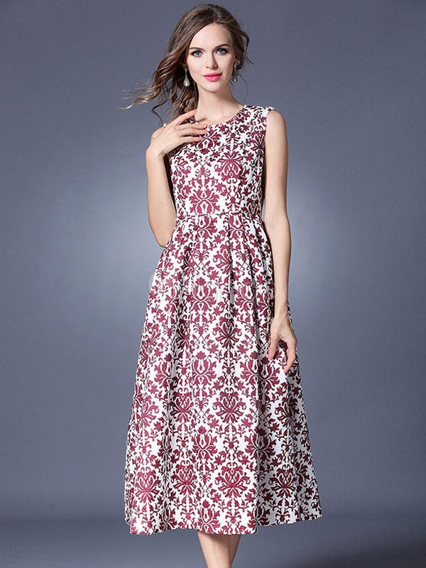 4b429c4957 ... Vestido plisado de poliéster Rojo coral con escote redondo sin mangas  Peonía con volante fruncido estilo ...