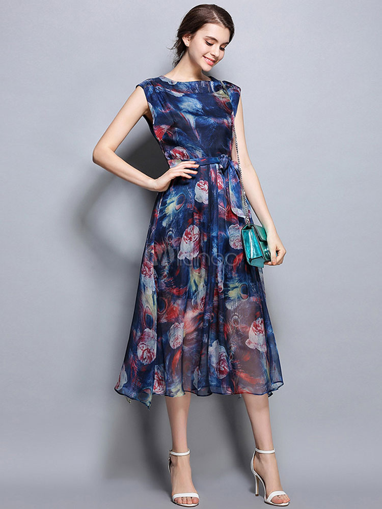 Buy Chiffon Skater Dress Blue Round Neck Sleeveless Printed Flare Dress For Women for $37.99 in Milanoo store