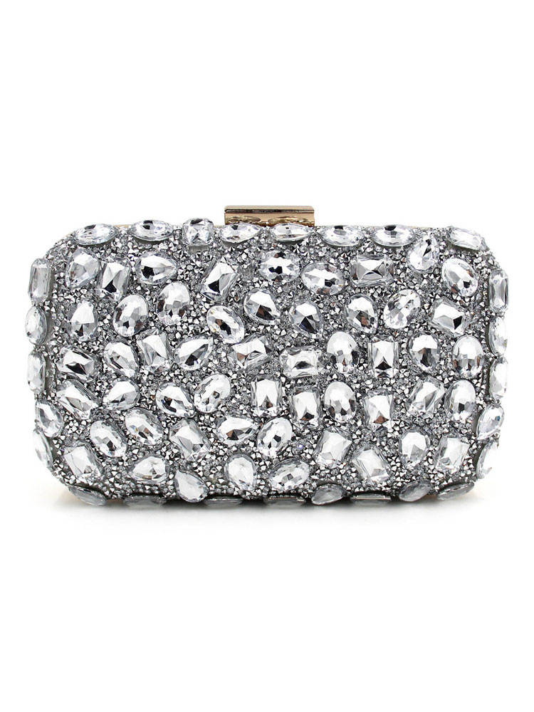 Silver Wedding Clutches Rhinestones Beaded Kiss Lock Small Evening Bags