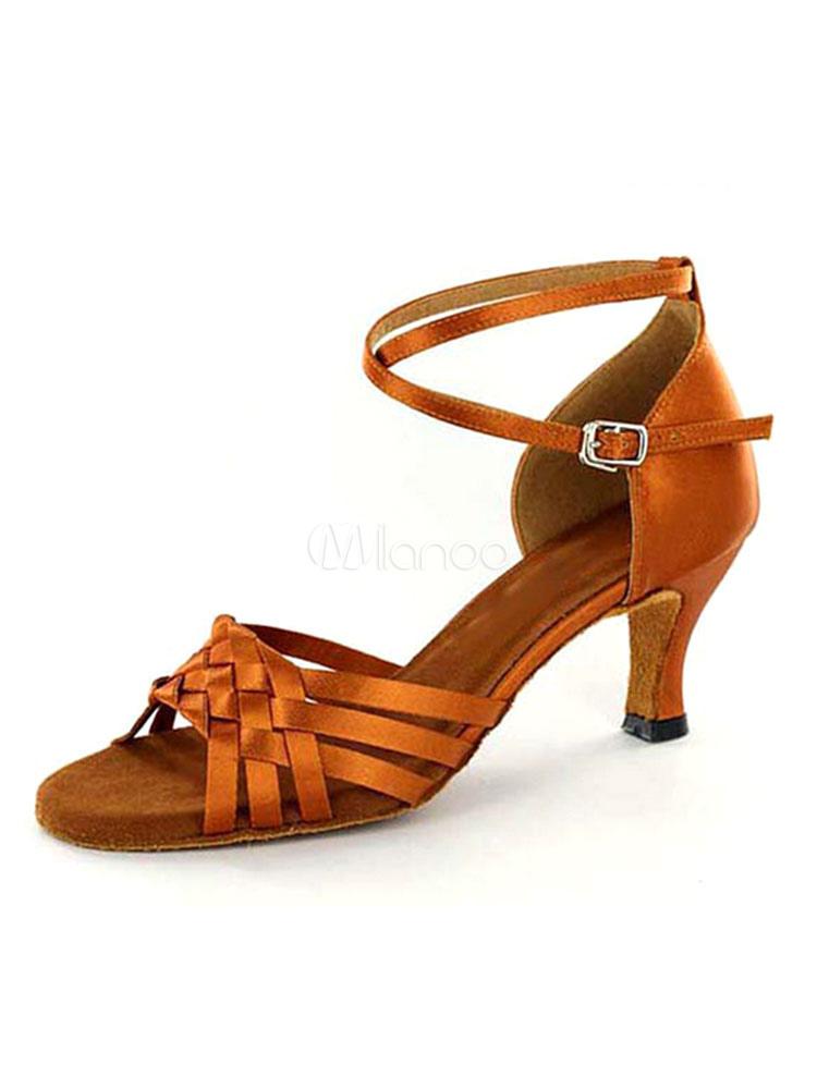 Zapatos de bailes latinos Piel sintética Tacón bobina para baile de puntera abierta tT0Rj4WWb