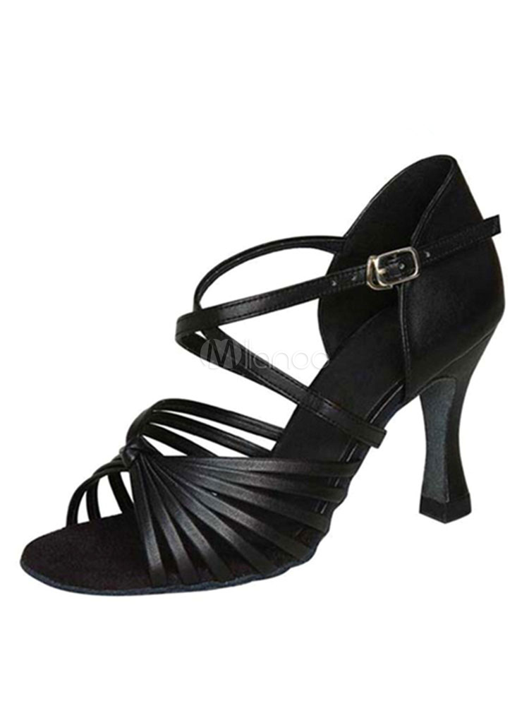 Zapatos de bailes latinos de PU Tacón bobina para baile de puntera abierta