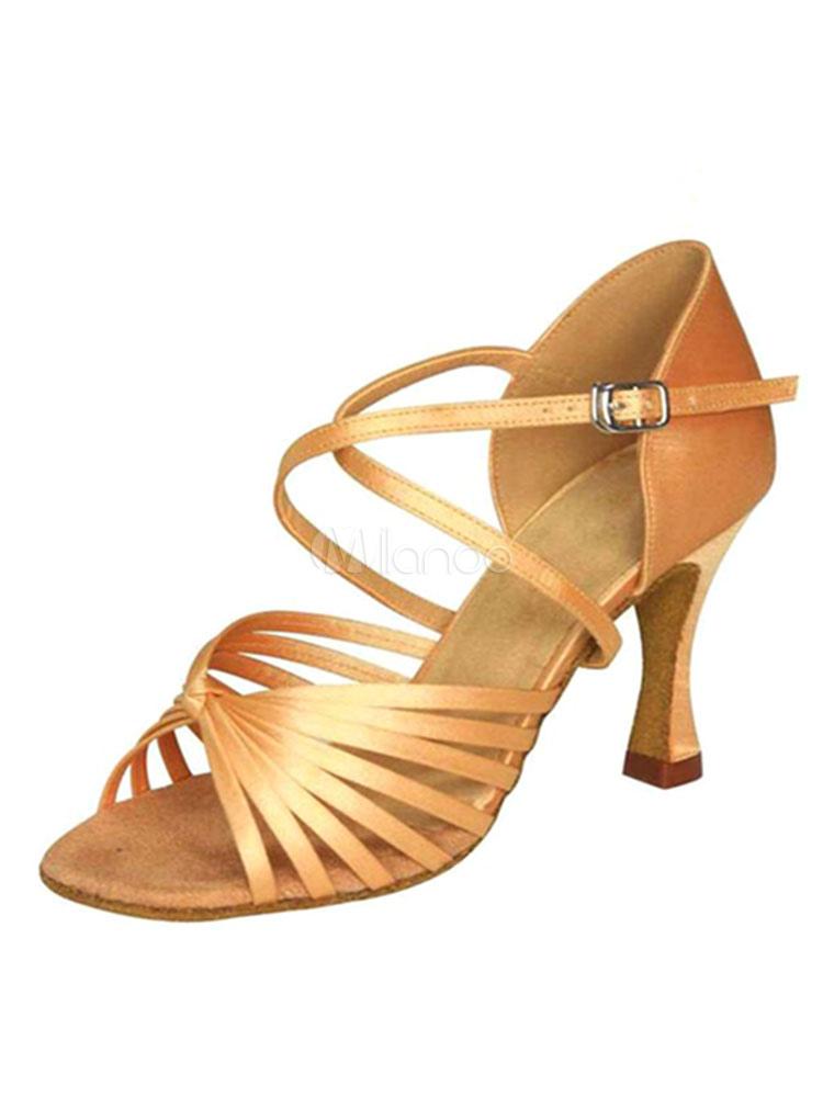 Zapatos de bailes latinos de PU Tacón bobina para baile de puntera abierta 5YTJQ2