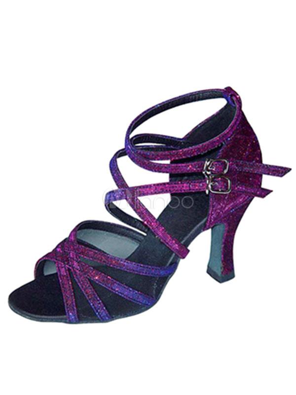 Zapatos de bailes latinos de puntera abierta Tacón bobina de satén para baile cDktJa
