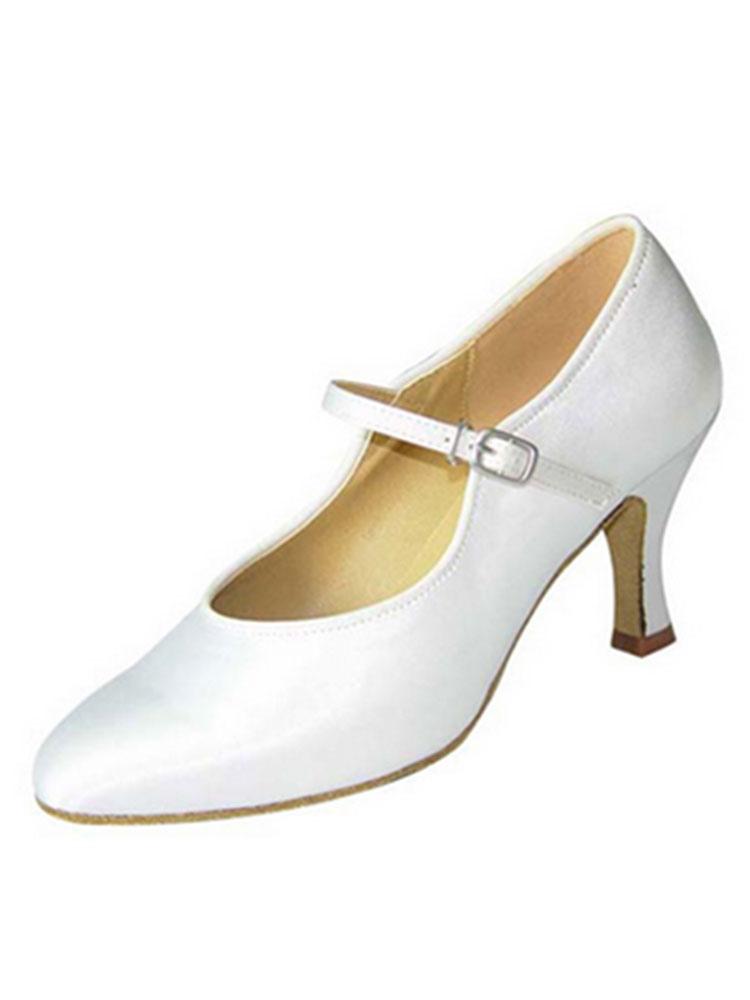White Ballroom Shoes Satin Spool Heel