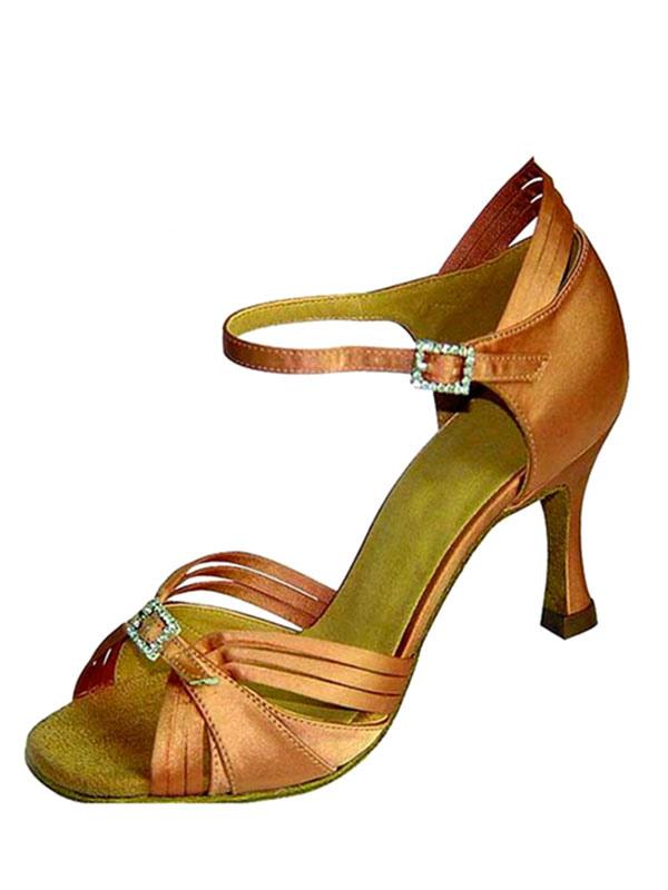 Zapatos de bailes latinos de puntera abierta de tacón de stiletto de satén con pedrería para baile aPHeAm6t