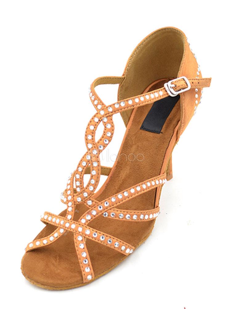 Zapatos de bailes latinos de puntera abierta de tacón de stiletto de satén con pedrería para baile ytnpunO