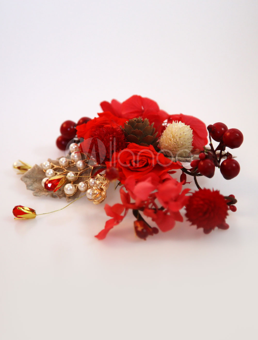 Buy Red Wedding Headpieces Silk Flowers Pearls Bridal Hair Accessories for $11.99 in Milanoo store