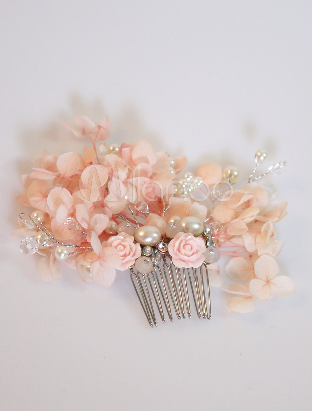 Comb Wedding Headpieces Flowers Pearls Soft Pink Bridal Hair Accessories