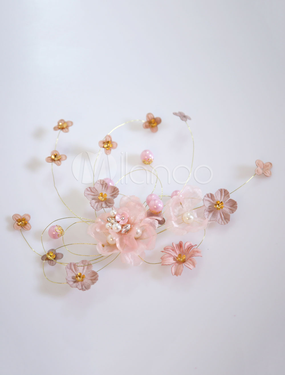 Buy Flowers Wedding Headpieces Pearls Salmon Bridal Hair Accessories for $11.99 in Milanoo store