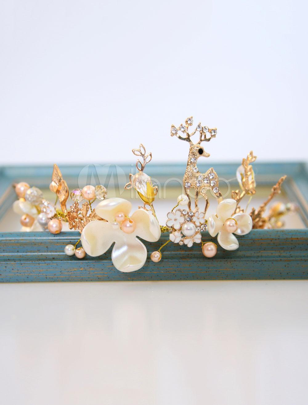 Buy Pearls Wedding Headpieces Flowers Deer Headband Bridal Hair Accessories for $13.99 in Milanoo store