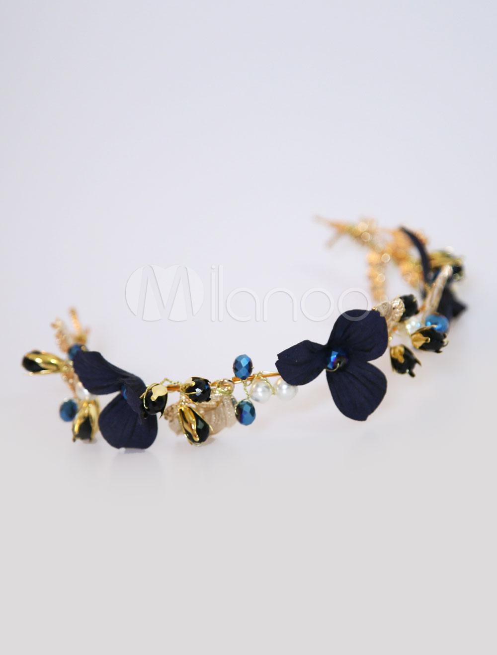 Buy Flower Wedding Headpieces Crystal Headband Dark Navy Bridal Hair Accessories for $20.99 in Milanoo store