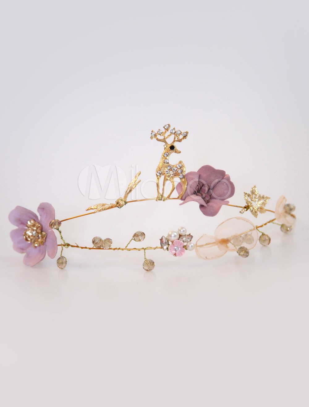 Buy Flower Wedding Headpieces Gold Deer Headband Bridal Hair Accessories for $11.99 in Milanoo store