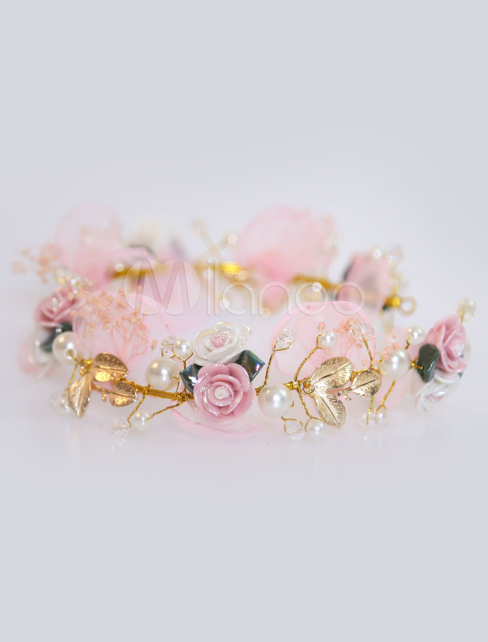 Buy Pink Wedding Headpieces Flowers Pearls Headband Bridal Hair Accessories for $15.99 in Milanoo store
