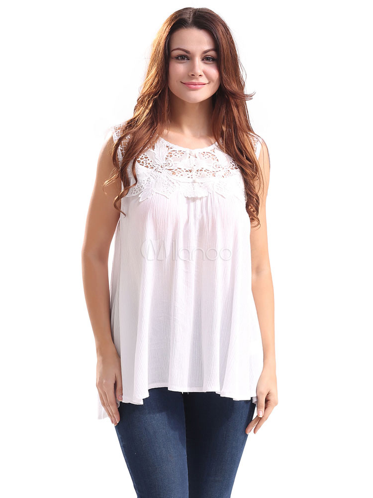 Buy Women's White Blouses Sleeveless Plus Size Lace Hollow Out Summer Tops for $18.99 in Milanoo store
