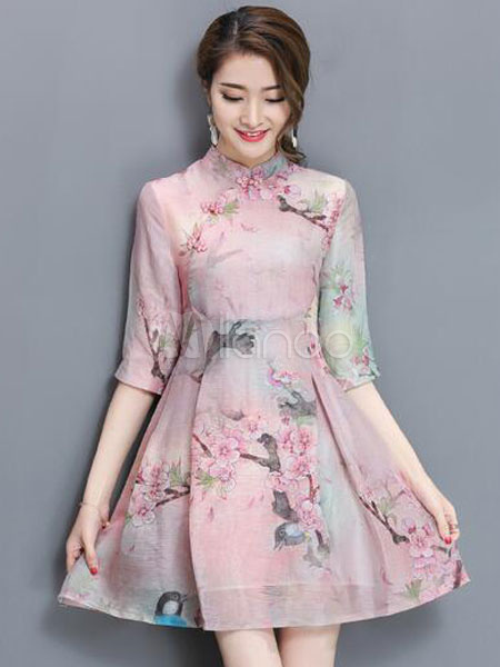 Buy Vintage Skater Dress Stand Collar Half Sleeve Floral Printed Short Dress For Women for $37.99 in Milanoo store