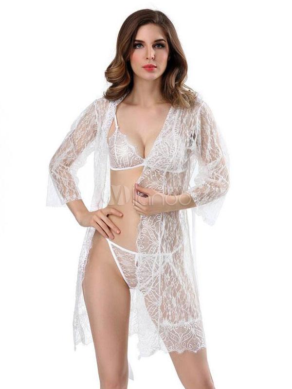 1fa9eeff8 الدانتيل الأبيض رداء ثوب ليلة ملابس نسائية ملابس داخلية مثيرة محض 2019-No.1  ...