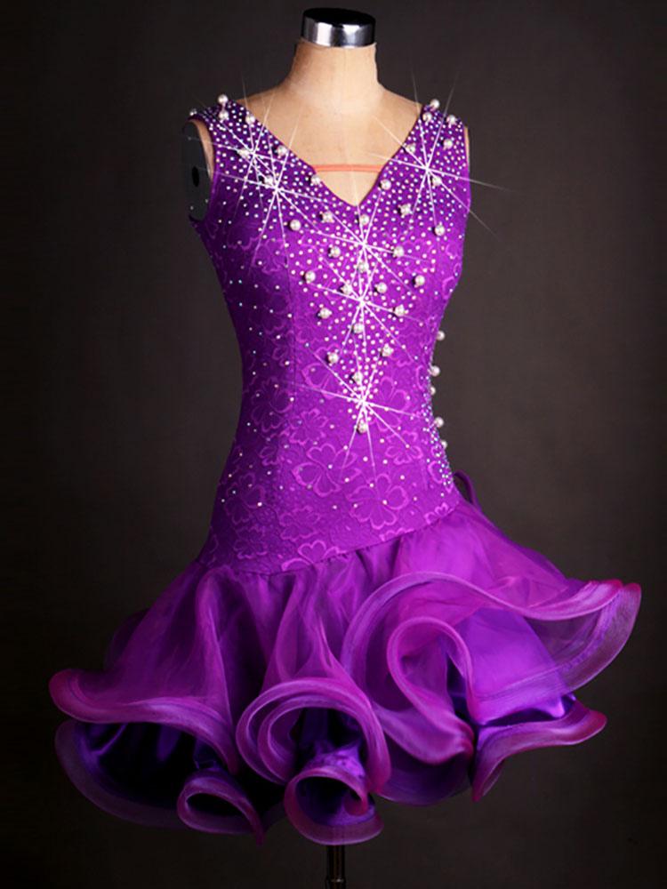 Costume da ballo latino americano interpretazione per adulti violo  monocolore alla moda ballerino Latino abito in ... e0bd4c0edd7