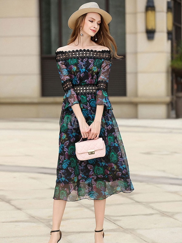 Buy Chiffon Skater Dress Green Off The Shoulder Women's Lace Patchwork Summer Midi Dresses for $44.99 in Milanoo store