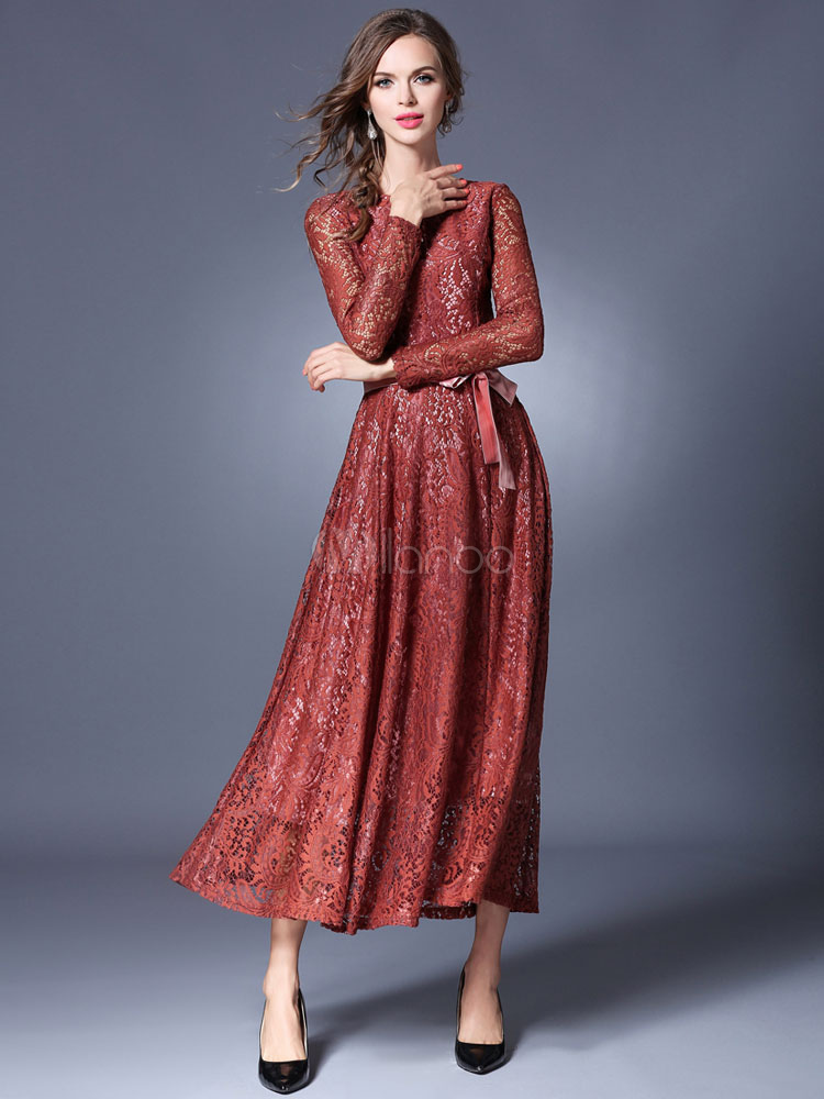Buy Burgundy Maxi Dress Round Neck Long Sleeve Pleated Slim Fit Maxi Dress for $42.74 in Milanoo store