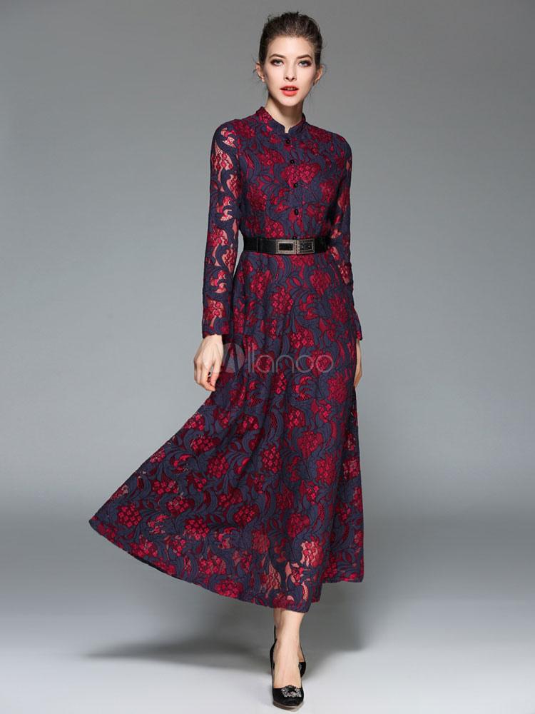 Burgundy Maxi Dress Women's Stand Collar Long Sleeve Slim Fit Long Dress With Belt