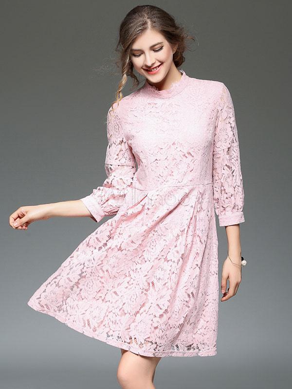 detailing 0506b 1cd27 Vestito in pizzo rosa con colletto alla coreana maniche a 3/4 pizzo donna