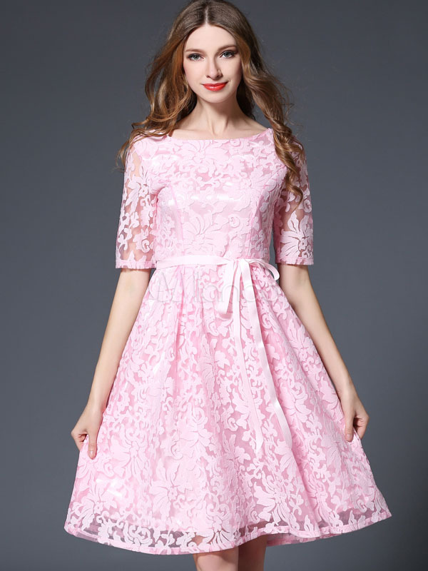Buy Pink Lace Dress Round Neck Half Sleeve Jacquard Pleated Skater Dress for $49.99 in Milanoo store