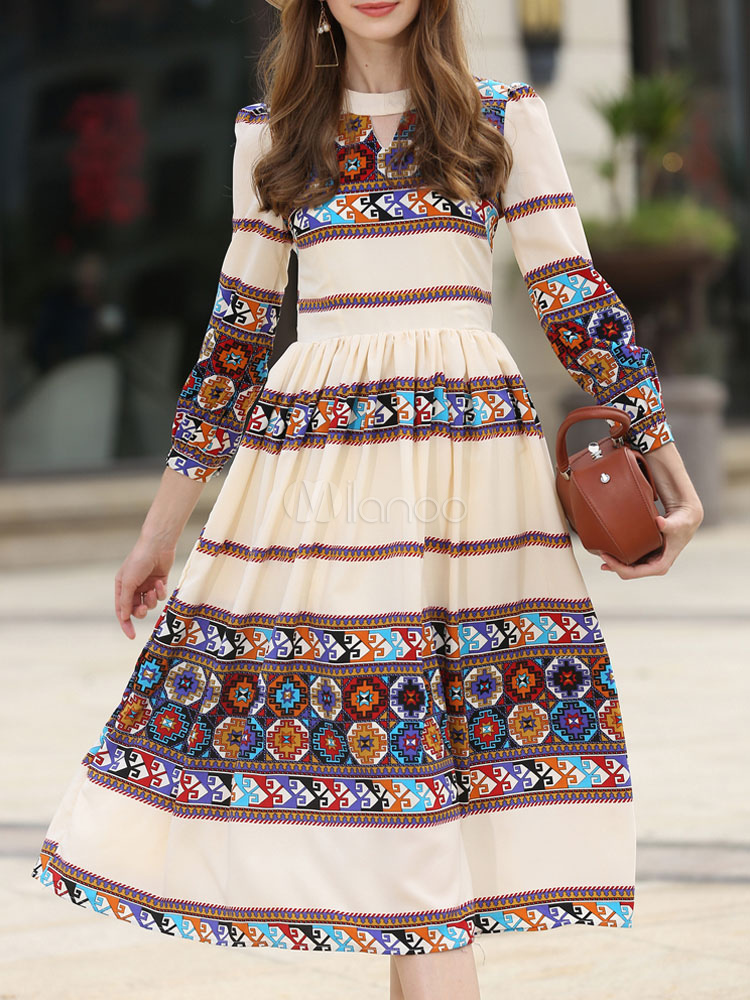 Buy Women's Skater Dress Ethnic Style Printed Round Neck Cut Out 3/4 Length Sleeve Pleated Flare Dress for $39.37 in Milanoo store