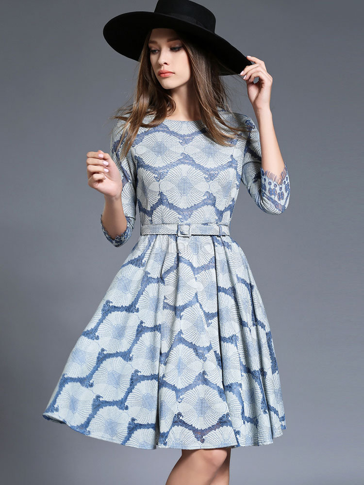 Buy Women's Skater Dress Lace Embellished Light Blue Round Neck 3/4 Length Sleeve Printed Flare Dress With Belt for $53.99 in Milanoo store