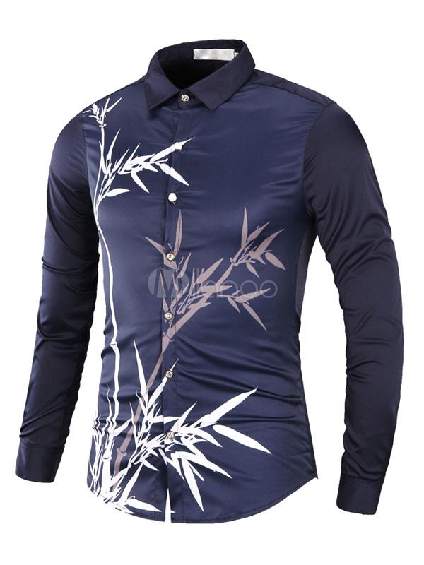Long Sleeve Shirt Men's Turndown Collar Bamboo Printed Casual Shirt