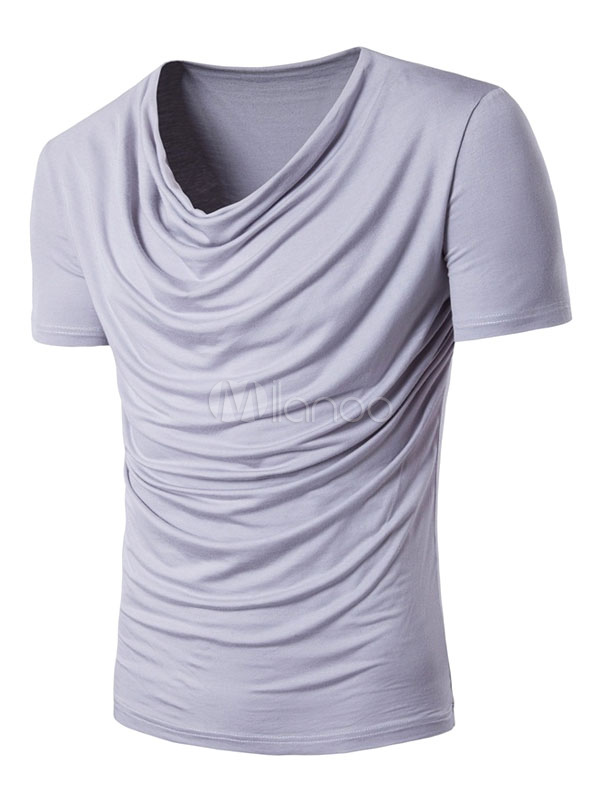 Men's Casual T Shirt Cowl Neckline Short Sleeve Ruched Shaping Tee Top