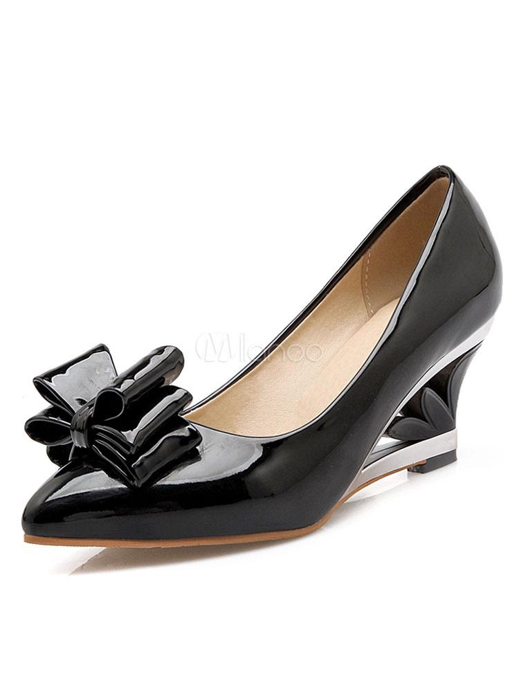 Zapatos de tacón de cuña de tacón de cuña slip-on de puntera puntiaguada de PU Color liso con lazo estilo moderno para pasar por la noche XR7bUFrbS