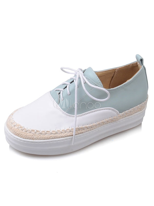 Buy Women's Oxford Shoes Round Toe Woven Style Lace Up Color Block Platform Flat Shoes for $32.39 in Milanoo store