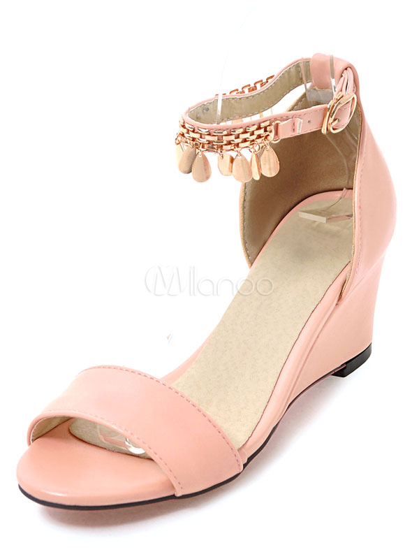 Pink Wedge Sandals Open Toe Mid Heel Metallic Details Ankle Strap Two Part Sandal Shoes