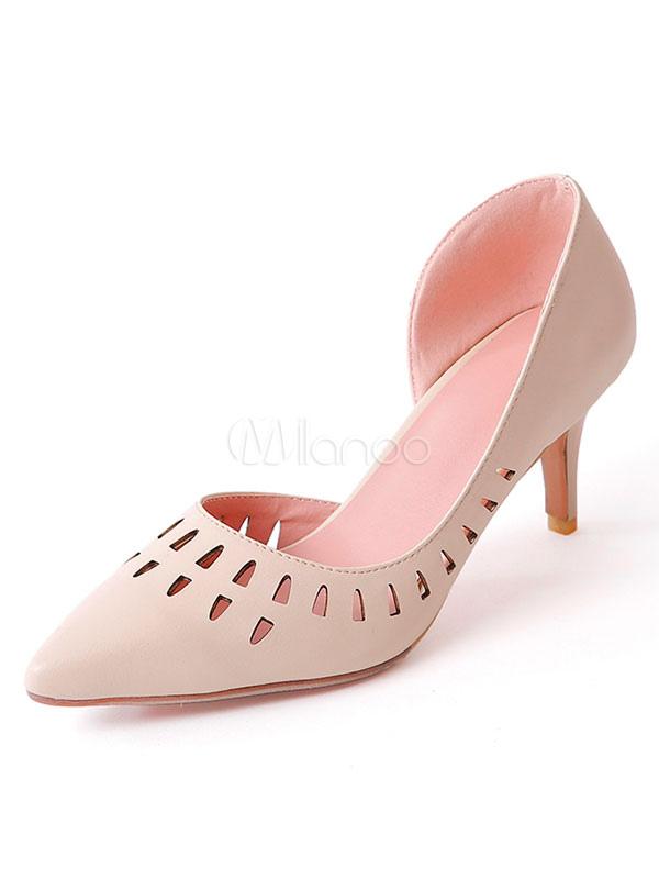 Scarpe con tacco medio decolletè pU donna forato a punta tacco basso e fino  6.5cm ... 899a5a81630