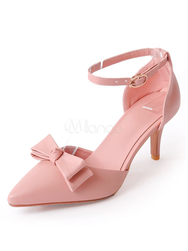 c2557f3d8bb Pointed Toe Pumps Women s Pink Bow Decor Ankle Strap Kitten Heel Pump ...