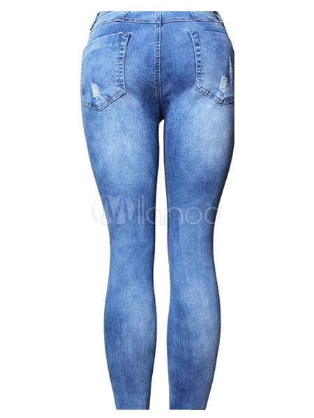 Buy Blue Ripped Jeans High Rise Distressed Cut Out Skinny Women's Denim Pants for $18.99 in Milanoo store