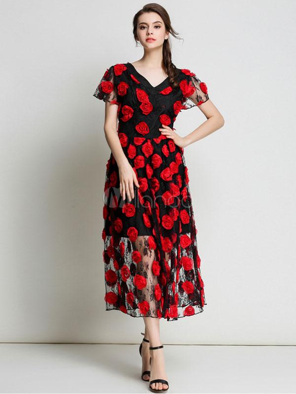 Buy Lace Skater Dress 3D Flowers V Neck Short Sleeve Semi Sheer Black A Line Dress for $47.49 in Milanoo store