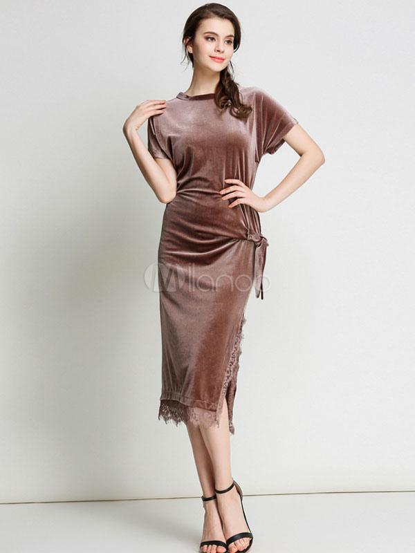Buy Women's Bodycon Dress Velvet Light Tan Round Neck Short Sleeve Slit Slim Fit Sheath Dress for $35.99 in Milanoo store