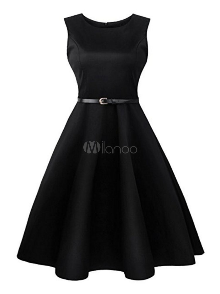 Black Vintage Dress Round Neck Sleeveless Pleated Slim Fit Skater Dress With Belt