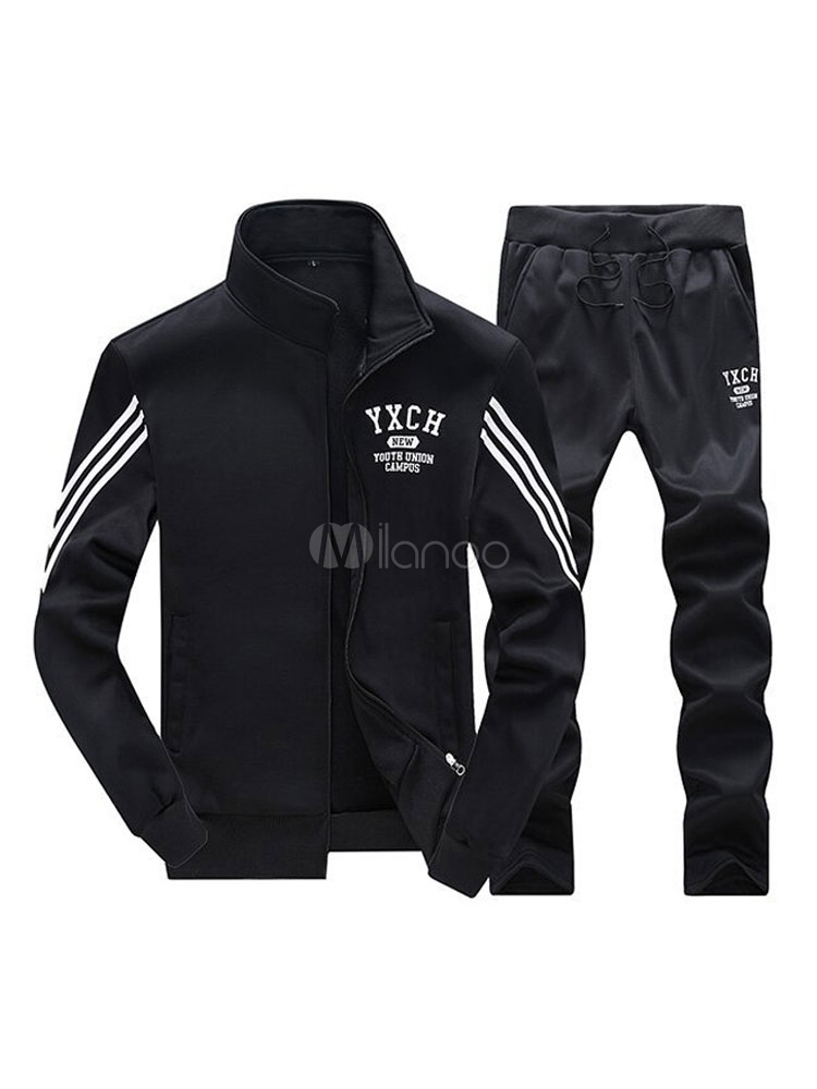 Buy Men 2 Piece Set Black Sweat Suits Striped Long Sleeve Track Suit Sports for $24.29 in Milanoo store
